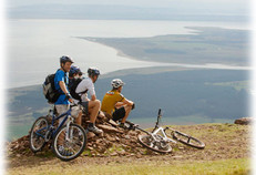 Mountain bikers at the top of Ben Bhraggie