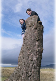 Children perched on the lookout stump