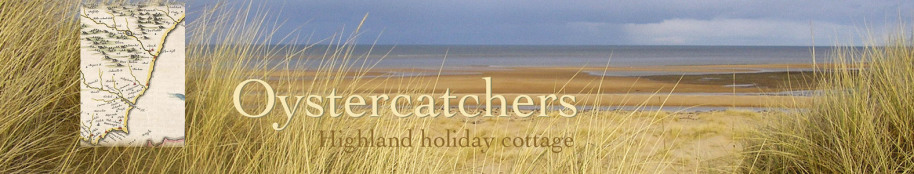 Oystercatchers highland holiday cottage title with beach view and map