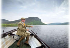 Trout fishing from a boat on Loch Brora