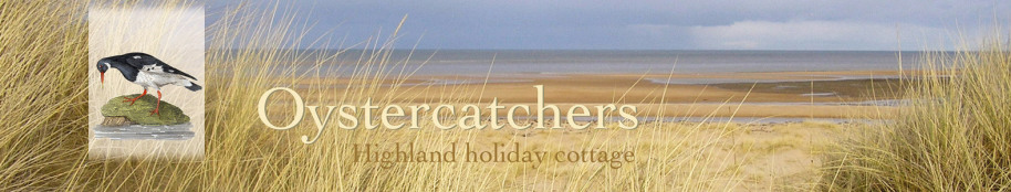 Oystercatchers highland holiday cottage title with beach view and logo