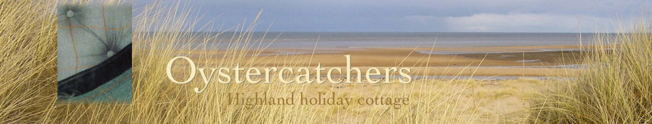 Oystercatchers highland holiday cottage title with beach view and tweed detail